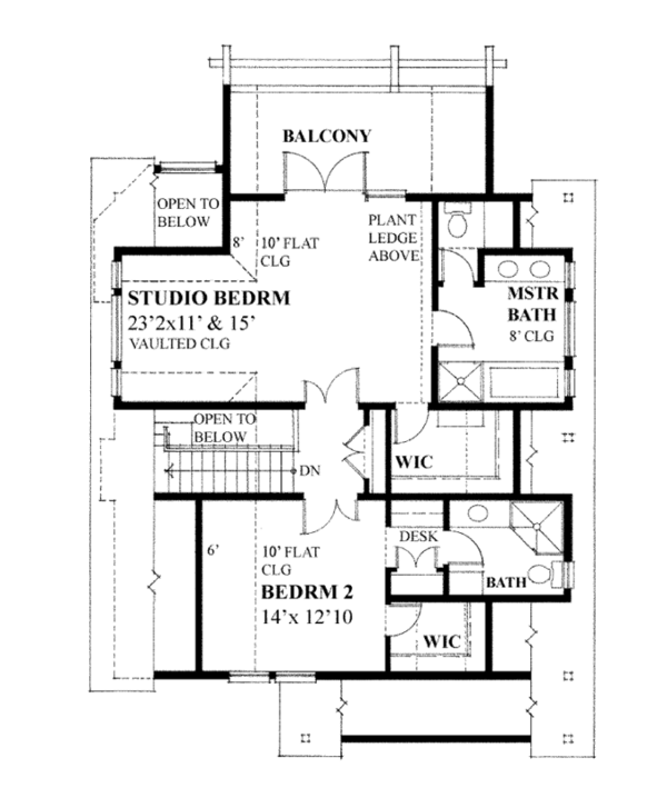 House Plan Design - Contemporary Floor Plan - Upper Floor Plan #118-162