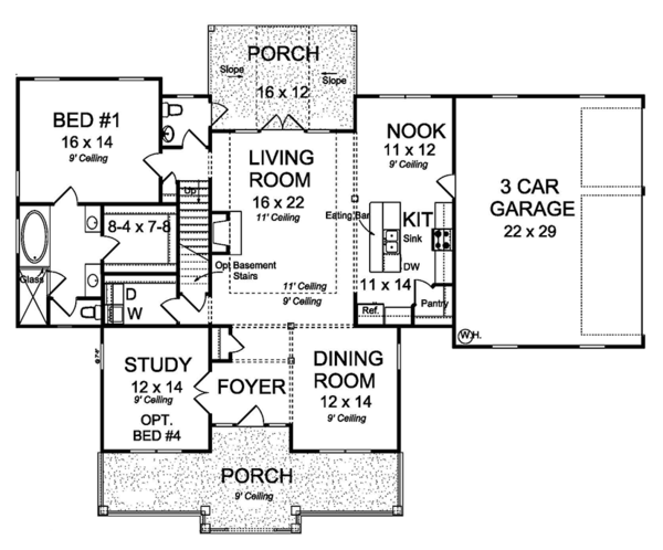 Traditional Floor Plan - Main Floor Plan Plan #513-2158