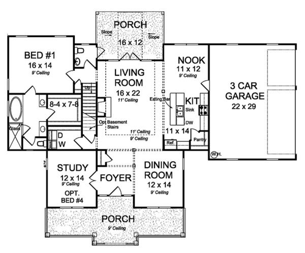 House Plan Design - Traditional Floor Plan - Main Floor Plan #513-2158