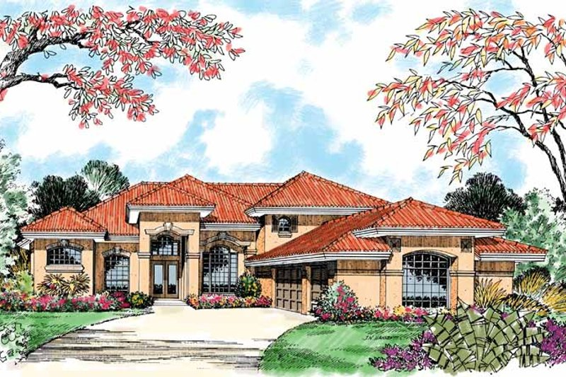 Mediterranean Exterior - Front Elevation Plan #417-503 - Houseplans.com