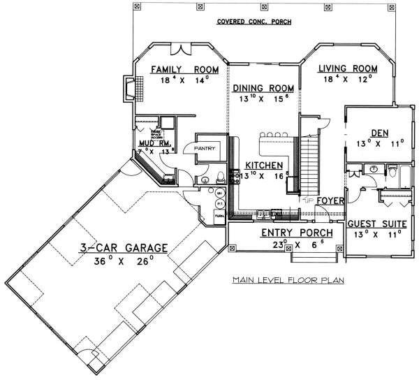 Country Floor Plan - Main Floor Plan Plan #117-577