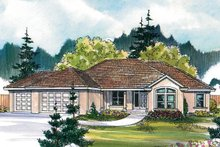 Home Plan - Mediterranean Exterior - Front Elevation Plan #124-466