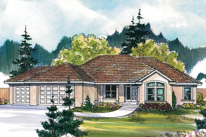 Mediterranean Style House Plan - 5 Beds 3 Baths 2507 Sq/Ft Plan #124-466 Exterior - Front Elevation