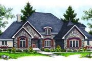 European Style House Plan - 4 Beds 3.5 Baths 3207 Sq/Ft Plan #70-641 Exterior - Front Elevation