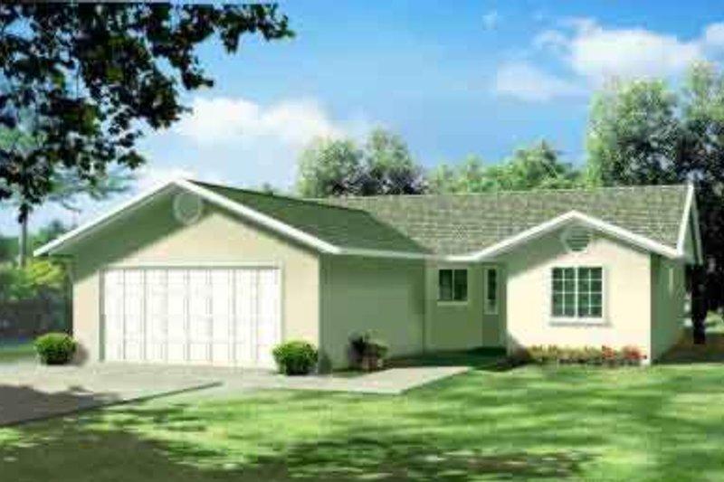 Adobe / Southwestern Style House Plan - 3 Beds 2 Baths 1281 Sq/Ft Plan #1-1074