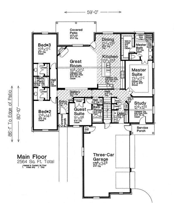 Home Plan - European Floor Plan - Main Floor Plan #310-1286