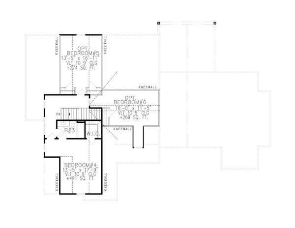 Farmhouse Floor Plan - Upper Floor Plan Plan #54-389