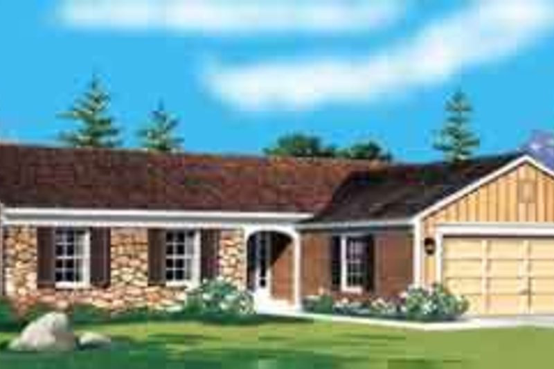 Ranch Exterior - Front Elevation Plan #72-446 - Houseplans.com