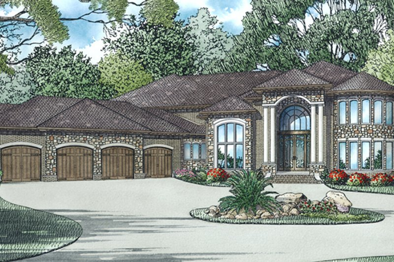 European Exterior - Front Elevation Plan #17-3401 - Houseplans.com