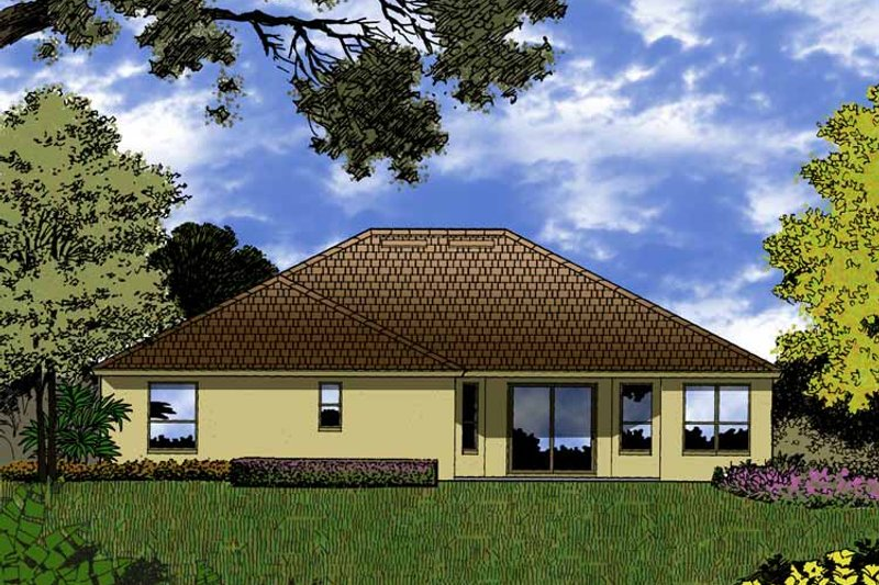 Mediterranean Exterior - Rear Elevation Plan #1015-17 - Houseplans.com