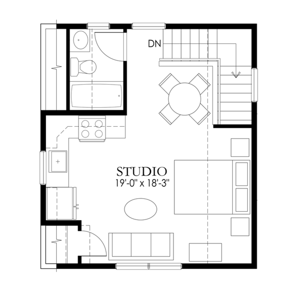 Craftsman style house plan 1 beds 1 baths 448 sq ft plan for Photography studio floor plans