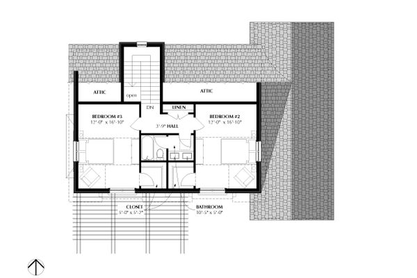 Traditional Floor Plan - Upper Floor Plan Plan #933-3