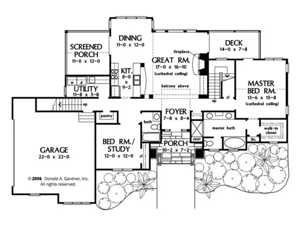 Craftsman Floor Plan - Main Floor Plan Plan #929-934