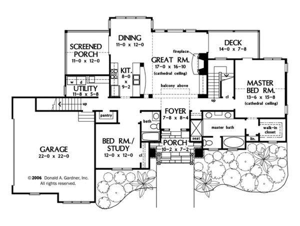 Craftsman Floor Plan - Main Floor Plan Plan #929-934