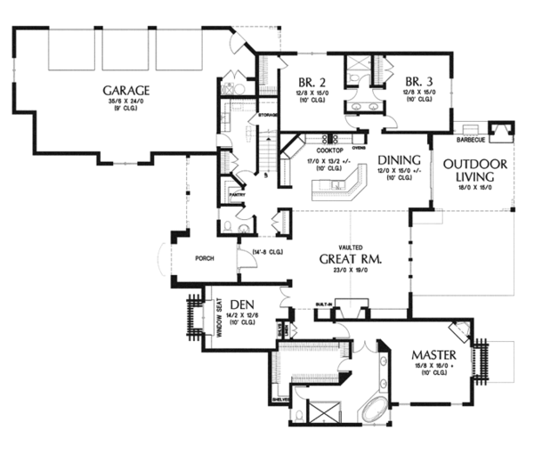 Country Floor Plan - Main Floor Plan Plan #48-898