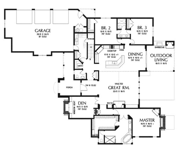 House Plan Design - Country Floor Plan - Main Floor Plan #48-898