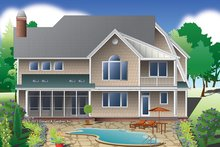 House Plan Design - Colonial Exterior - Rear Elevation Plan #929-977