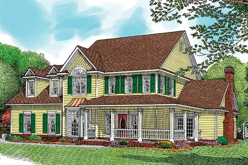 Architectural House Design - Country Exterior - Front Elevation Plan #11-252