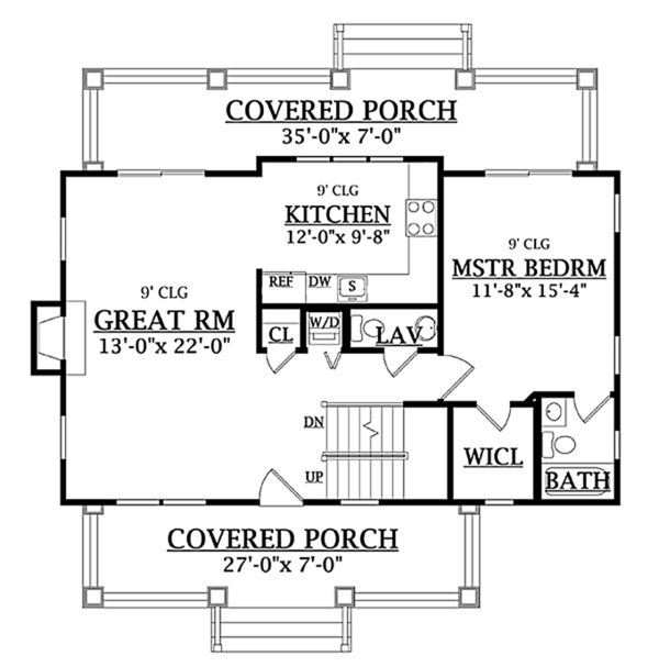 Craftsman Floor Plan - Main Floor Plan Plan #314-276