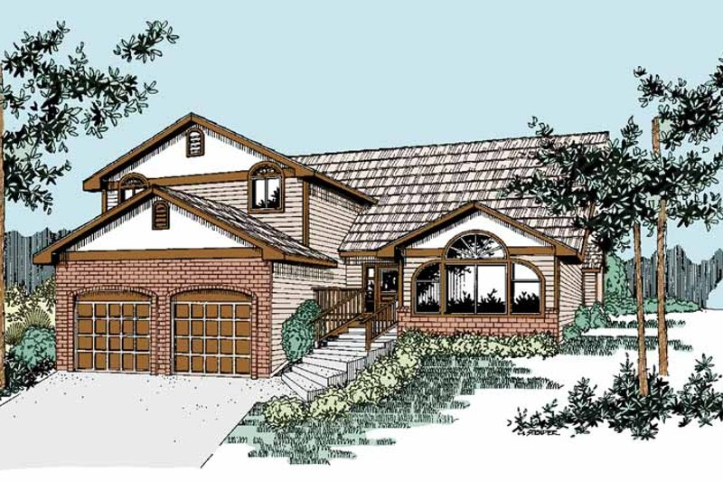 Contemporary Exterior - Front Elevation Plan #60-666