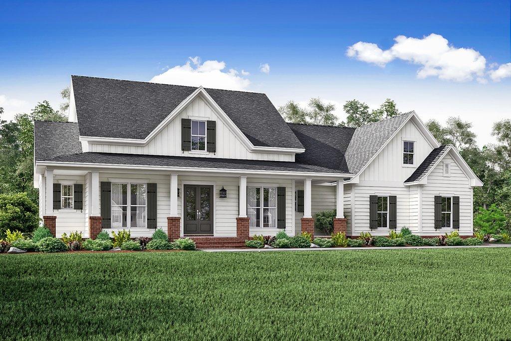 Farmhouse Exterior   Front Elevation Plan #430 147