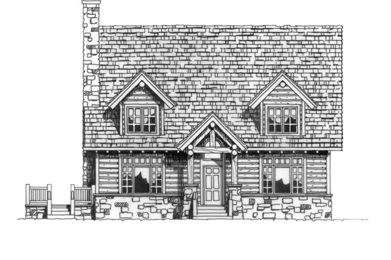 Log Exterior - Front Elevation Plan #942-18 - Houseplans.com