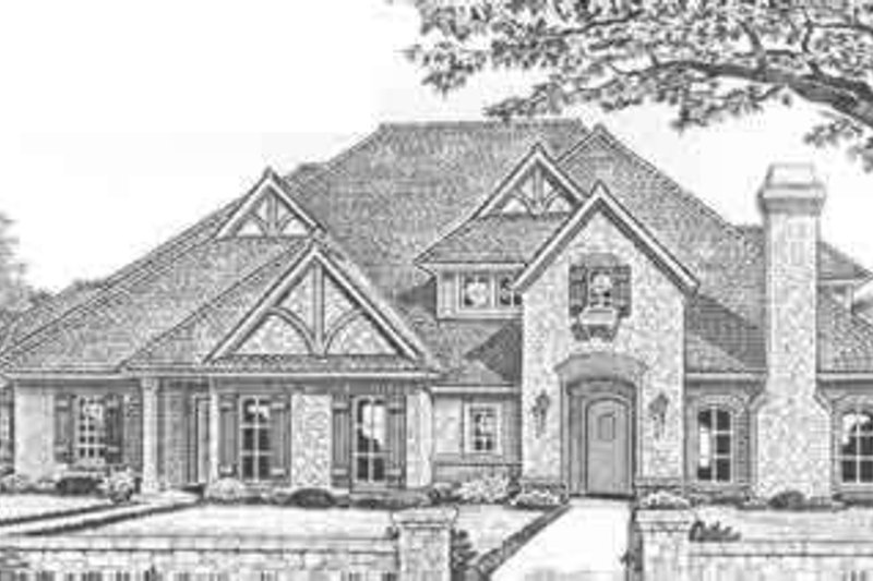 Tudor Style House Plan - 2 Beds 2.5 Baths 4342 Sq/Ft Plan #310-475 Exterior - Front Elevation