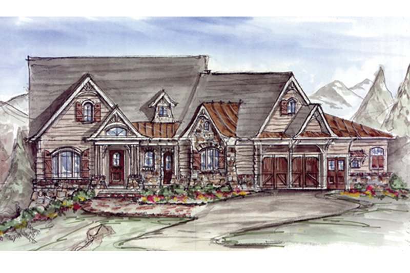 Craftsman Exterior - Front Elevation Plan #54-368