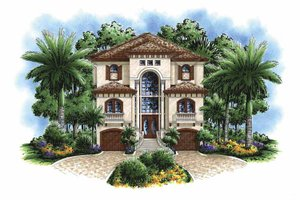 House Design - Mediterranean Exterior - Front Elevation Plan #1017-95