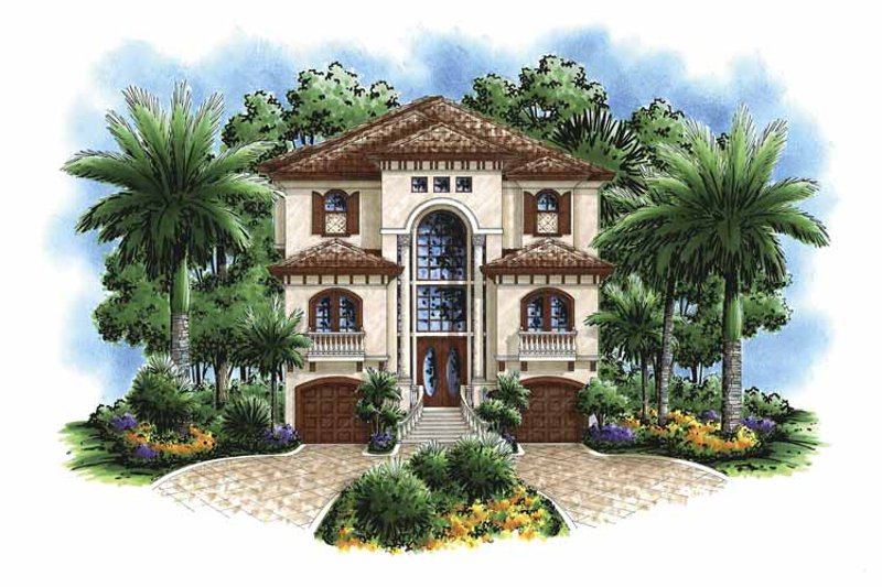 Mediterranean Exterior - Front Elevation Plan #1017-95