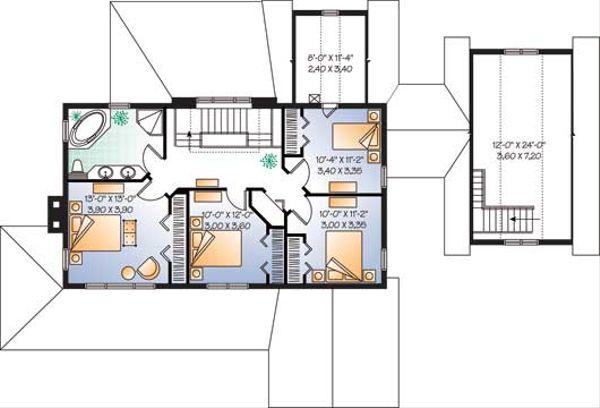Traditional Floor Plan - Upper Floor Plan Plan #23-2173