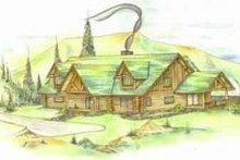 Log Exterior - Front Elevation Plan #117-120