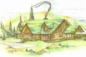 Log Exterior - Front Elevation Plan #117-120