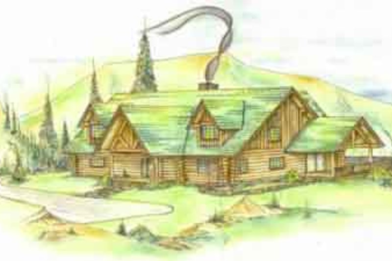 Log Style House Plan - 3 Beds 3 Baths 2155 Sq/Ft Plan #117-120 Exterior - Front Elevation