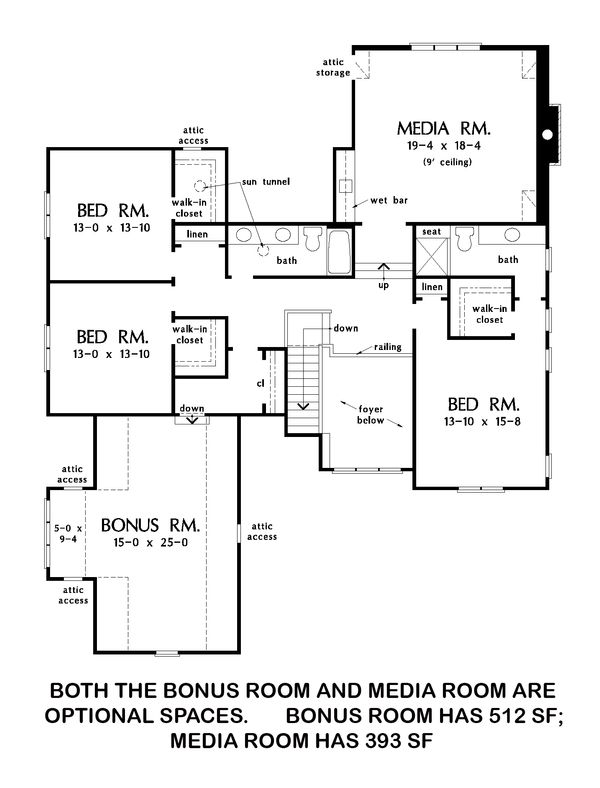 Farmhouse Floor Plan - Upper Floor Plan Plan #929-1052