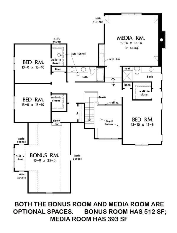 Farmhouse Floor Plan - Upper Floor Plan #929-1052