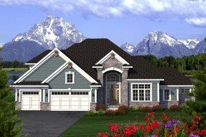 Southern Exterior - Front Elevation Plan #70-1227