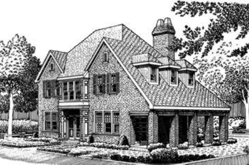 European Exterior - Front Elevation Plan #410-371