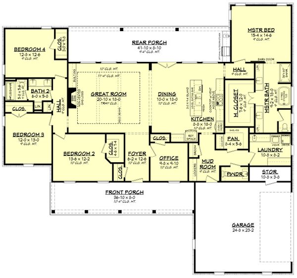 Farmhouse Floor Plan - Main Floor Plan #430-232