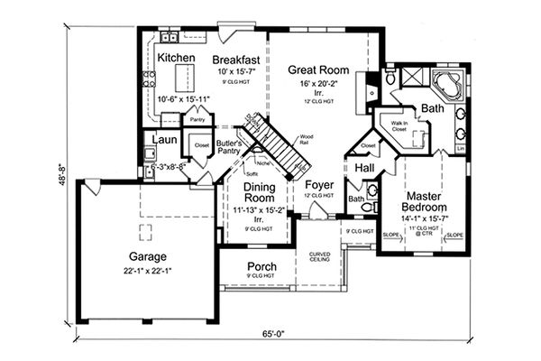 Traditional Floor Plan - Main Floor Plan Plan #46-869
