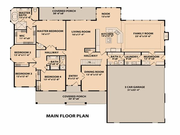 Ranch Floor Plan - Main Floor Plan Plan #515-1