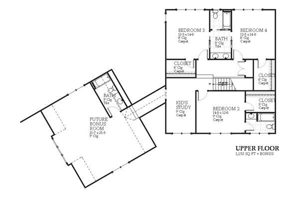 Traditional Floor Plan - Upper Floor Plan #901-106