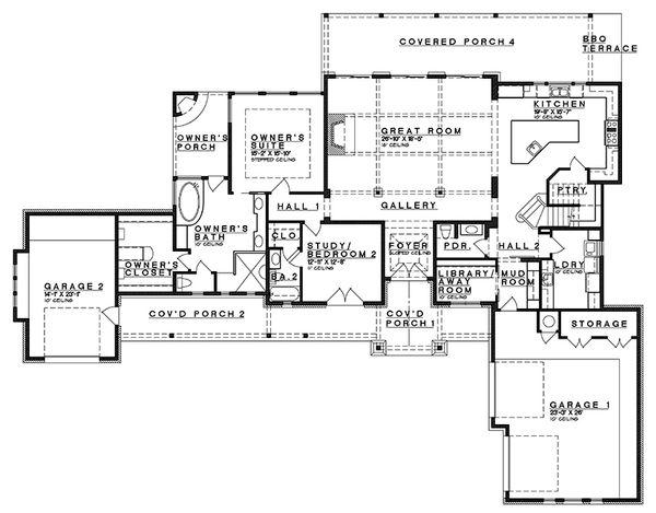 Craftsman Floor Plan - Main Floor Plan Plan #935-11