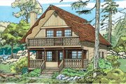 Cabin Style House Plan - 3 Beds 2 Baths 1286 Sq/Ft Plan #47-111 Exterior - Front Elevation