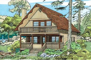 Cabin Exterior - Front Elevation Plan #47-111
