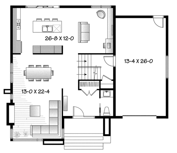 Contemporary Floor Plan - Main Floor Plan Plan #23-2585