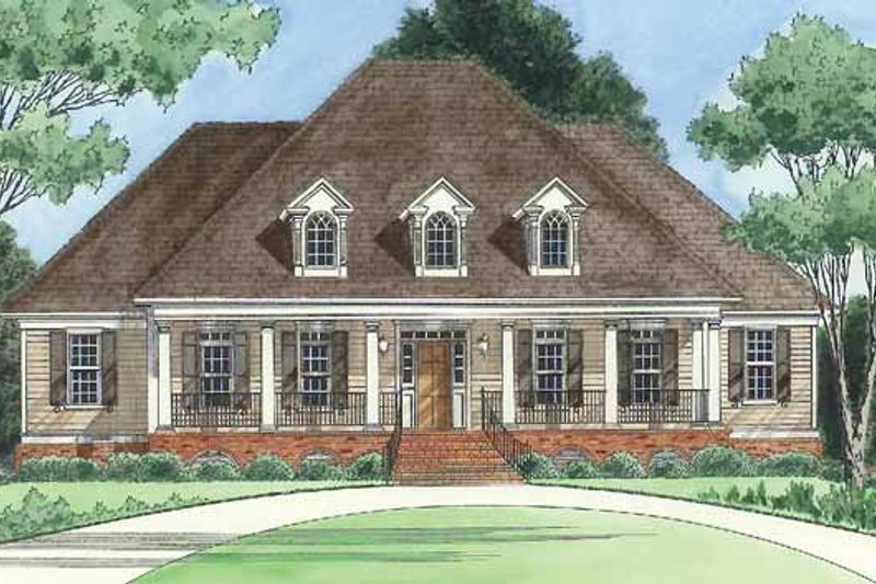 Country Exterior - Front Elevation Plan #1054-9