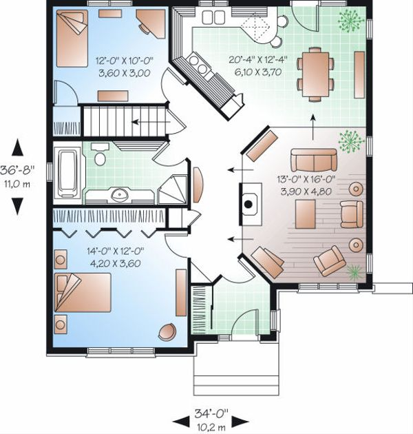 Traditional Floor Plan - Main Floor Plan Plan #23-859