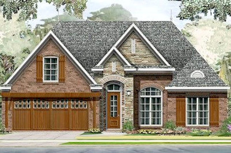 European Style House Plan - 3 Beds 2 Baths 1568 Sq/Ft Plan #424-175