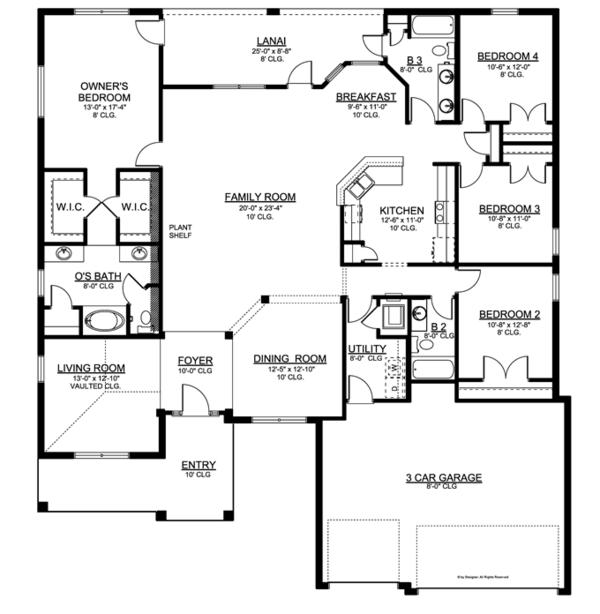 Traditional Floor Plan - Main Floor Plan Plan #1058-50